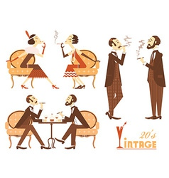 vintage people isolated on white for design vector image vector image