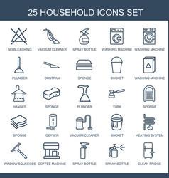 25 household icons vector