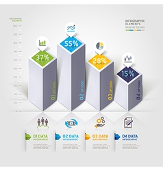 3d business infographics options template vector image