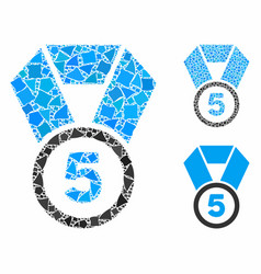 5th place medal mosaic icon abrupt elements vector