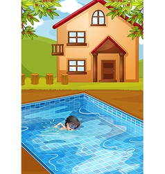 A kid swimming at the pool in the backyard vector image