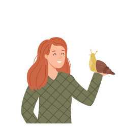 A woman with snail vector