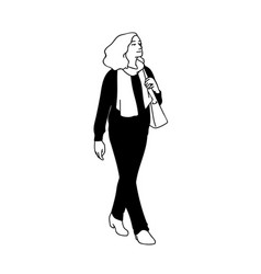 Adult woman with curky hair taking a walk looking vector