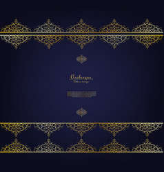 arabesque blue pattern gold flower background vector image