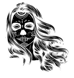 black and white skull candy girl vector image