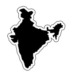 Black silhouette of the country india with the vector
