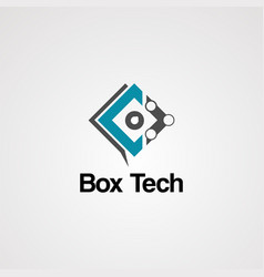 box tech logo icon element and template vector image