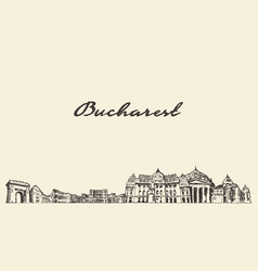 bucharest skyline romania city draw sketch vector image