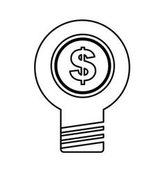 Bulb light with coin money vector