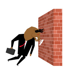 Businessman bull is destroying brick wall vector