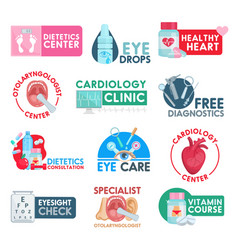 Cardiology and dietetics healthcare icons vector