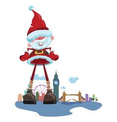 cartoon santa claus on the background of london vector image