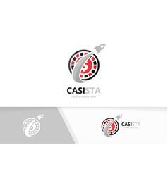 Casino and rocket logo combination chip vector