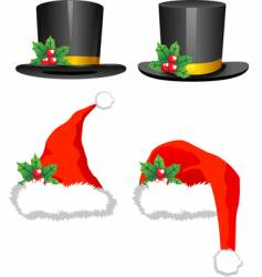 Christmas hats vector image