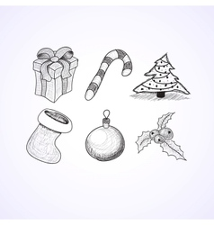 Christmas icons doodles sketchbook vector image