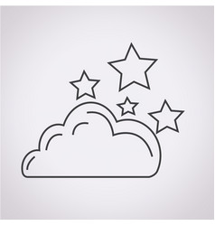 Cloud stars icon vector