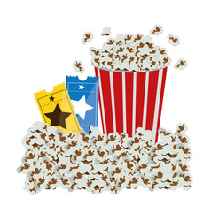 color background with popcorn container and movie vector image