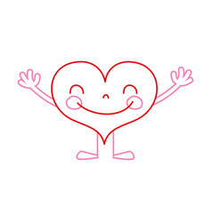 Color line heart kawaii with arms and legs design vector