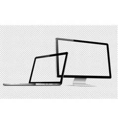 computer display and laptop with transparent vector image