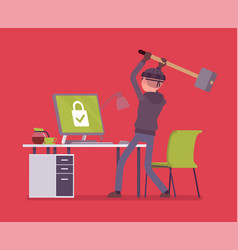 computer hacking attempt vector image