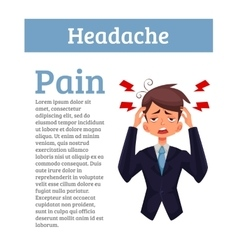 Concept headache in a person with information vector