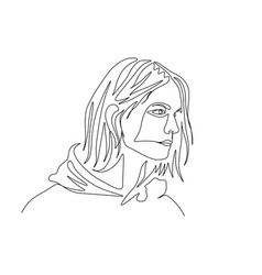 Continuous one line portrait man in hoody with vector