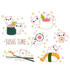 cute polar bears with japanese sushi and rolls vector image
