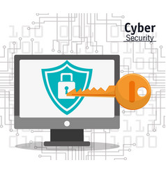 cyber security computer padlock key protection vector image