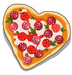 Delicious pizza in the shape of a heart isolated vector