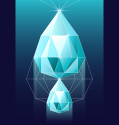 diamond in polygonal vector image