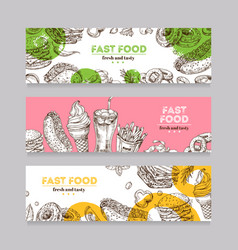 fast food banners sketch burger pizza and snack vector image