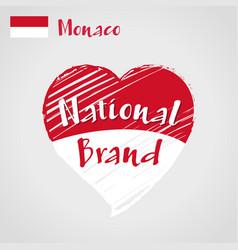 flag heart of monaco national brand vector image