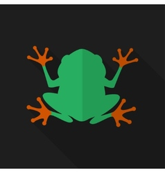 Flat frog with long shadow icon vector image