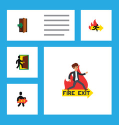 flat icon emergency set of exit entrance vector image