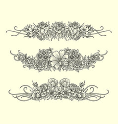 Flower and leaves decoration sketches vector
