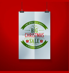 frame on wall with christmas label vector image