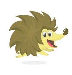 funny cartoon hedgehog mascot vector image