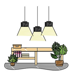 Grated office with lamps hanging and desk vector
