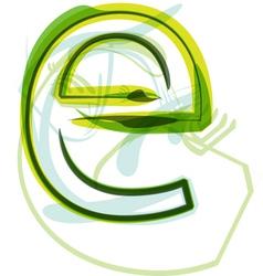 Green letter E vector image