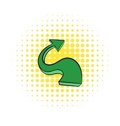 Green wavy arrow icon comics style vector