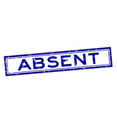 Grunge blue absent word square rubber seal stamp vector