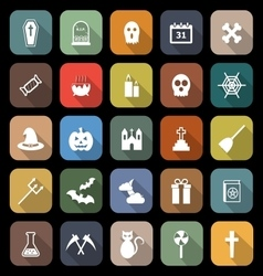 Halloween flat icons with long shadow vector