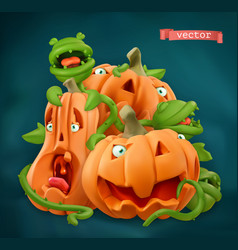 halloween pumpkin cartoon characters 3d icon vector image