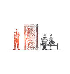 Hand drawn interview concept sketch vector