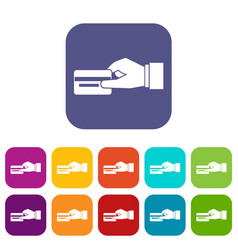 Hand holding a credit card icons set vector