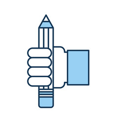 Hand human with pencil school isolated icon vector