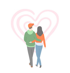 happy couple back view man and woman heart vector image
