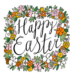 happy easter lettering inside beautiful floral vector image