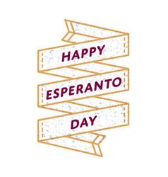 happy esperanto day greeting emblem vector image