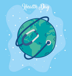 Health day celebration poster with earth and vector